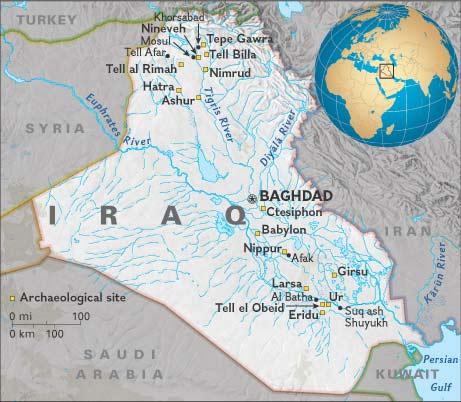 Mapa de Sitios arqueologicos Iraque