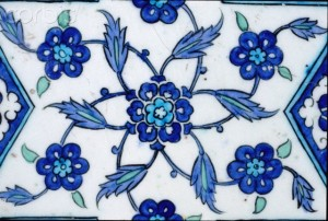 Detail of Islamic Tile with Floral Design from Damascus, Syria