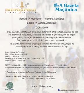 Convite Coquetel Revista Metrópole/BibliASPA